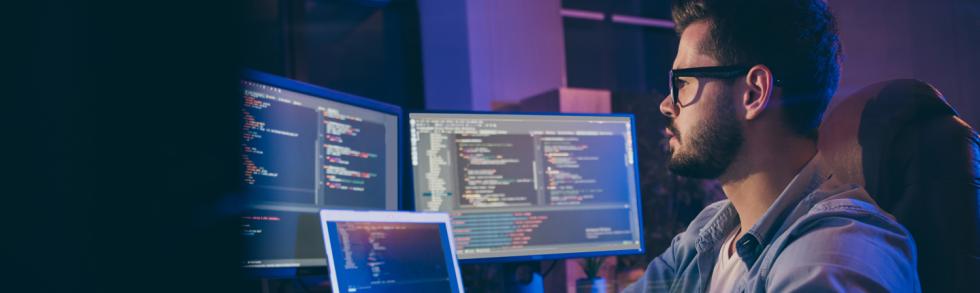 developer coding in .NET Core