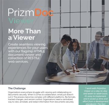 PrizmDoc Viewer HTML 5 Web Services Fact Sheet