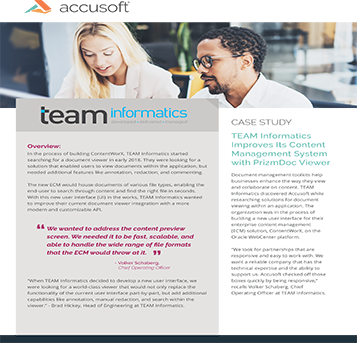 TEAM Informatics Case Study